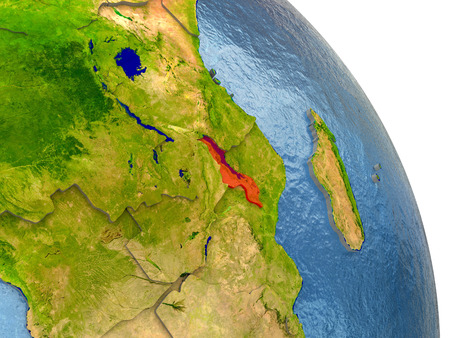 Malawi in red with surrounding region. 3D illustration with highly detailed realistic planet surface. Elements of this image furnished by NASA.