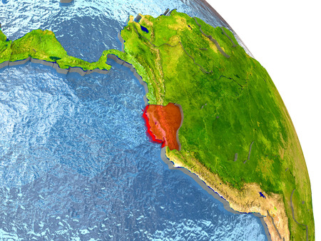 Ecuador in red with surrounding region. 3D illustration with highly detailed realistic planet surface. Elements of this image furnished by NASA. Stock Photo