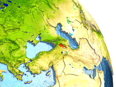 armenian: Armenia in red with surrounding region. 3D illustration with highly detailed realistic planet surface.