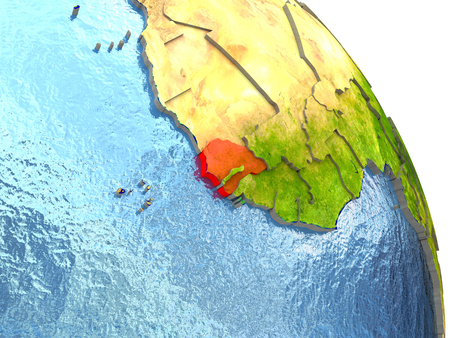 Senegal in red with surrounding region. 3D illustration with highly detailed realistic planet surface.