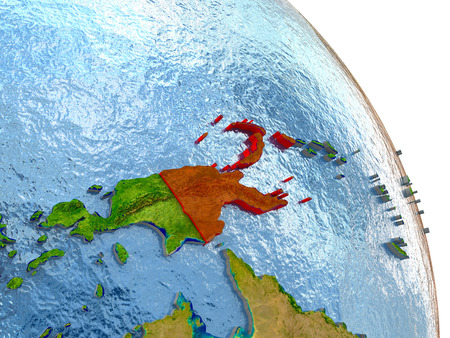 detailed image: Papua New Guinea in red with surrounding region. 3D illustration with highly detailed realistic planet surface. Elements of this image furnished by NASA.