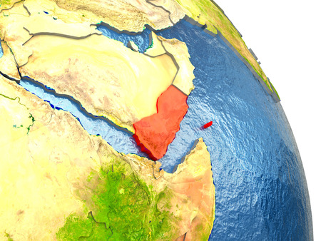yemen: Yemen in red with surrounding region. 3D illustration with highly detailed realistic planet surface. Stock Photo