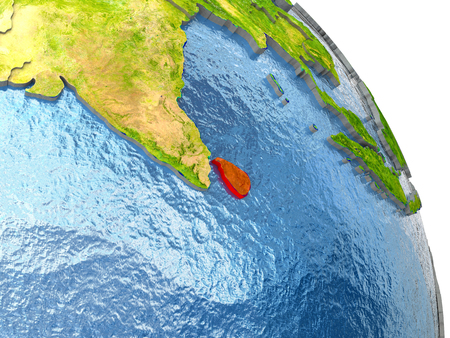 Sri Lanka in red with surrounding region. 3D illustration with highly detailed realistic planet surface.