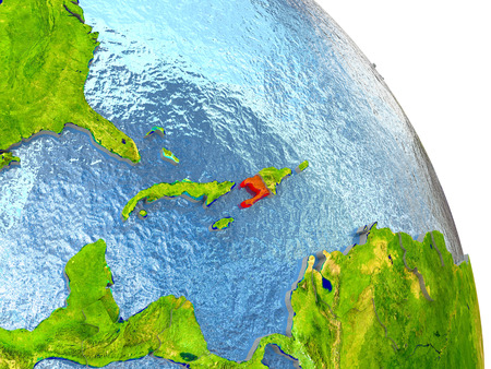 haitian: Haiti in red with surrounding region. 3D illustration with highly detailed realistic planet surface. Stock Photo