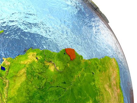 French Guiana in red with surrounding region. 3D illustration with highly detailed realistic planet surface. Stock Photo