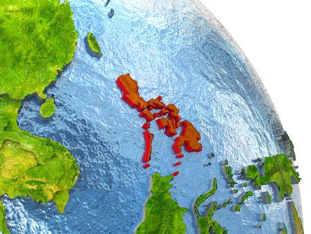 Philippines in red with surrounding region. 3D illustration with highly detailed realistic planet surface.