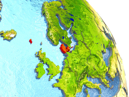 Denmark in red with surrounding region. 3D illustration with highly detailed realistic planet surface. Stock Photo