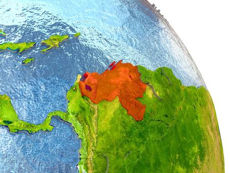 Venezuela en rojo con la región circundante. Ilustración 3D con la superficie realista altamente detallada del planeta. Foto de archivo