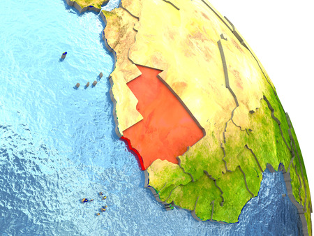 Mauritania in red with surrounding region. 3D illustration with highly detailed realistic planet surface. Stock Photo