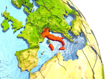 Italy in red with surrounding region. 3D illustration with highly detailed realistic planet surface. Stock Photo