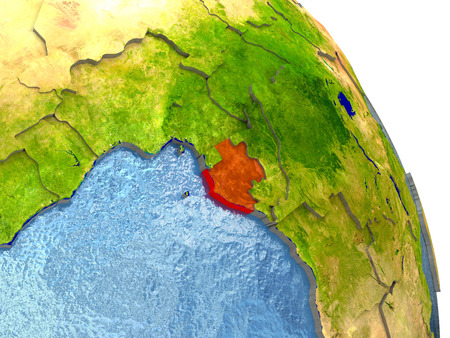 Gabon in red with surrounding region. 3D illustration with highly detailed realistic planet surface. Stock Photo