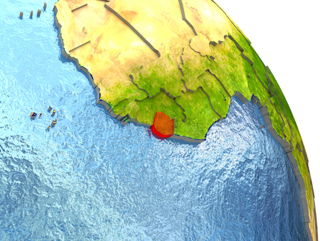 Sierra Leone in red with surrounding region. 3D illustration with highly detailed realistic planet surface. Stock Photo
