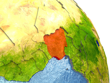 country nigeria: Nigeria in red with surrounding region. 3D illustration with highly detailed realistic planet surface.