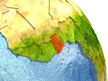 Ghana in red with surrounding region. 3D illustration with highly detailed realistic planet surface.