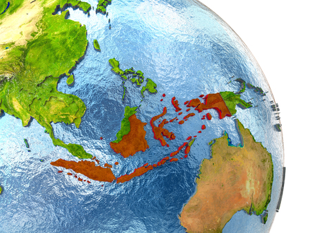 Indonesia in red with surrounding region. 3D illustration with highly detailed realistic planet surface.