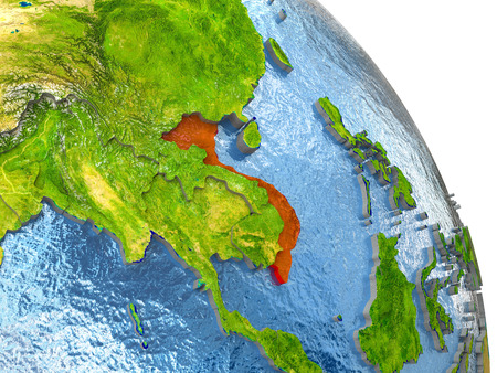 Vietnam in red with surrounding region. 3D illustration with highly detailed realistic planet surface. Stock Photo