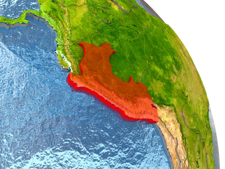 Peru in red with surrounding region. 3D illustration with highly detailed realistic planet surface.