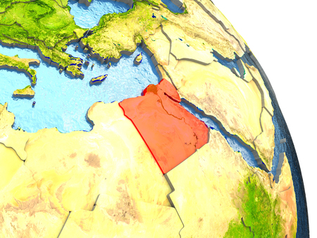 Egypt in red with surrounding region. 3D illustration with highly detailed realistic planet surface. Elements of this image furnished by NASA.