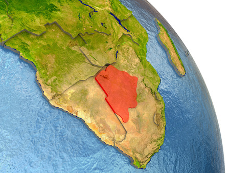 botswana: Botswana in red with surrounding region. 3D illustration with highly detailed realistic planet surface.