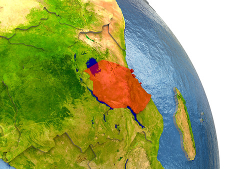 detailed image: Tanzania in red with surrounding region. 3D illustration with highly detailed realistic planet surface. Elements of this image furnished by NASA.