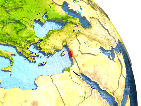 Lebanon in red with surrounding region. 3D illustration with highly detailed realistic planet surface. Elements of this image furnished by NASA.