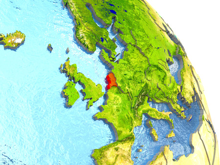 Netherlands in red with surrounding region. 3D illustration with highly detailed realistic planet surface.