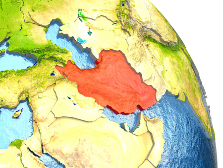 Iran in red with surrounding region. 3D illustration with highly detailed realistic planet surface. Elements of this image furnished by NASA.