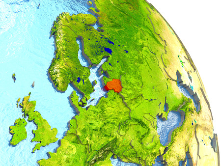Lithuania in red with surrounding region. 3D illustration with highly detailed realistic planet surface. Stock Photo