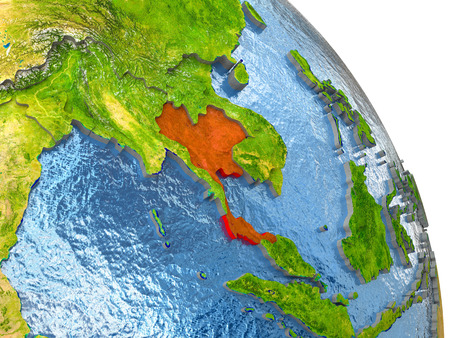 Thailand in red with surrounding region. 3D illustration with highly detailed realistic planet surface. Stock Photo