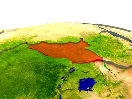 South Sudan highlighted in red on globe with surrounding region. 3D illustration with highly detailed realistic planet surface.