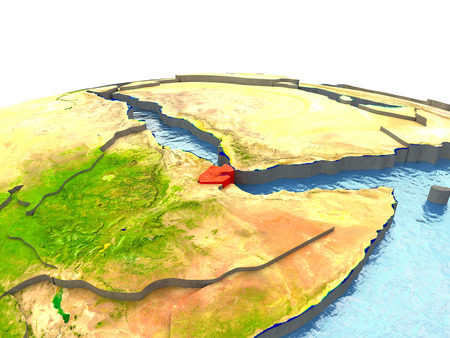 Djibouti highlighted in red on globe with surrounding region. 3D illustration with highly detailed realistic planet surface.