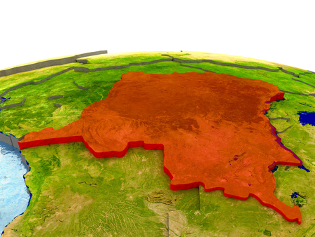 Democratic Republic of Congo highlighted in red on globe with surrounding region. 3D illustration with highly detailed realistic planet surface. Elements of this image furnished by NASA. Stock Photo