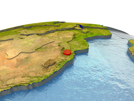 Swaziland highlighted in red on globe with surrounding region. 3D illustration with highly detailed realistic planet surface. Elements of this image furnished by NASA. Stock Photo