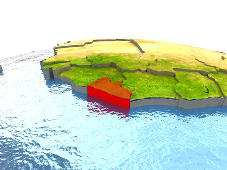 Liberia highlighted in red on globe with surrounding region. 3D illustration with highly detailed realistic planet surface.