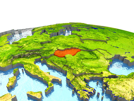 magyar: Hungary highlighted in red on globe with surrounding region. 3D illustration with highly detailed realistic planet surface.