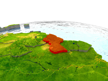 Guyana highlighted in red on globe with surrounding region. 3D illustration with highly detailed realistic planet surface.