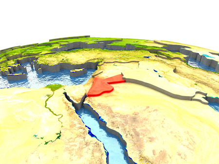 Jordan highlighted in red on globe with surrounding region. 3D illustration with highly detailed realistic planet surface.
