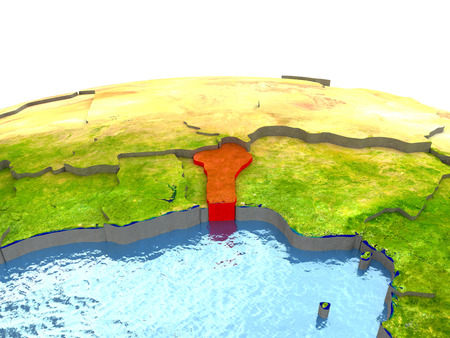 Benin highlighted in red on globe with surrounding region. 3D illustration with highly detailed realistic planet surface.