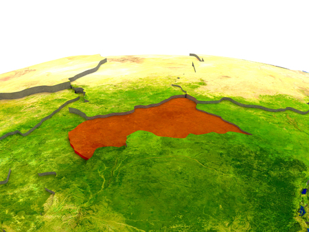 Central Africa highlighted in red on globe with surrounding region. 3D illustration with highly detailed realistic planet surface.