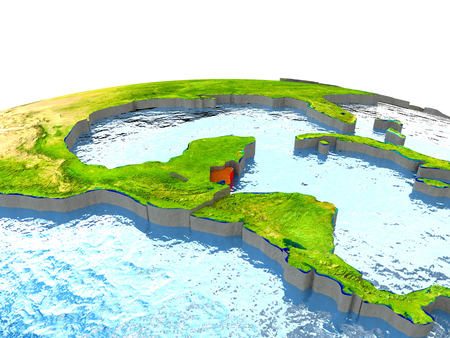 Belize highlighted in red on globe with surrounding region. 3D illustration with highly detailed realistic planet surface.