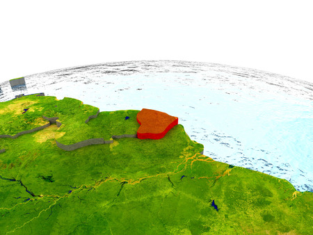 guiana: French Guiana highlighted in red on globe with surrounding region. 3D illustration with highly detailed realistic planet surface. Stock Photo