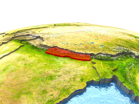 Nepal highlighted in red on globe with surrounding region. 3D illustration with highly detailed realistic planet surface. Stock Photo