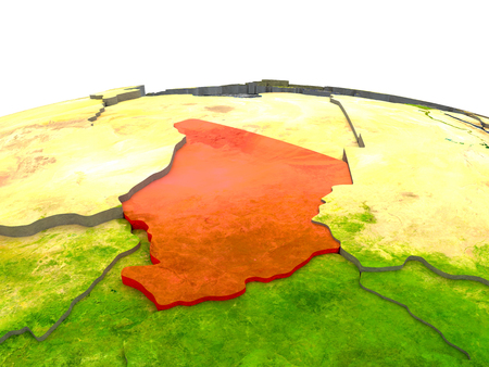 Chad highlighted in red on globe with surrounding region. 3D illustration with highly detailed realistic planet surface.