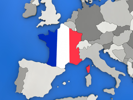 embedded: Map of France with embedded national flag on globe, top-down view. 3D illustration
