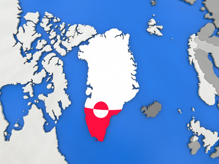 greenlandic: Map of Greenland with embedded national flag on globe, top-down view. 3D illustration