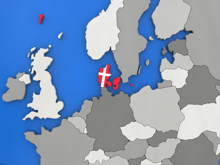 danish flag: Map of Denmark with embedded national flag on globe, top-down view. 3D illustration Stock Photo