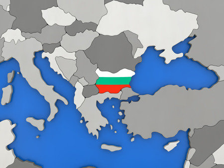 topdown: Map of Bulgaria with embedded national flag on globe, top-down view. 3D illustration Stock Photo