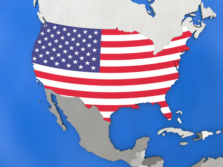 Map of USA with embedded national flag on globe, top-down view. 3D illustration Stock Photo