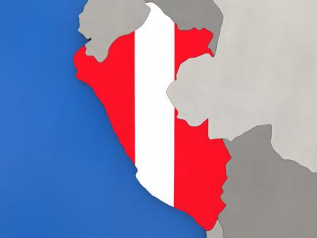 bandera de peru: Mapa de Perú con la bandera nacional integrada en el mundo, vista de arriba hacia abajo. Ilustración 3D