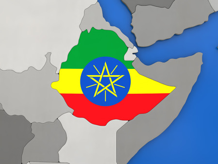 Map of Ethiopia with embedded national flag on globe, top-down view. 3D illustration